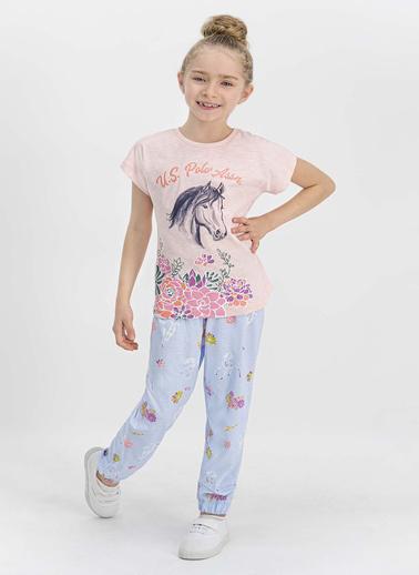U.S. Polo Assn.  Lisanslı Açık Pembe Kız Çocuk Pijama Takımı Somon